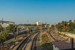 Wide view of curve train tracks from the foot over bridge, Chennai, Tamil nadu, India, Mar 29 2017 Stock Photos