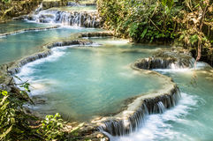 Kuang Si Falls - Waterfalls at Luang Prabang, Laos. Wide view of different levels of the waterfall of Kuang Si, near the laotian city of Luang Prabang Stock Photos