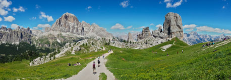 Wide view of Dolomiti. A wide View of 5 torri over cortina Stock Photo