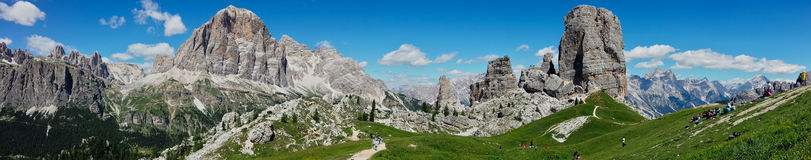 Wide view of Dolomiti. A very wide View of 5 torri over cortina Stock Photos