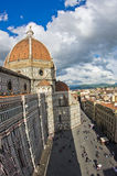 Wide view on a dome of Santa Maria del Fiore cathedral in Florence Royalty Free Stock Images