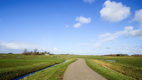 Wide view on Dutch landscape with meadow and cloudy skies Stock Image