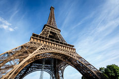 Wide View of Eiffel Tower from the Ground, Paris Royalty Free Stock Photos