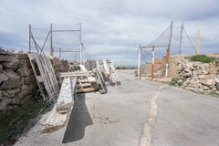 Wide view of Entrance to abandoned military zone Stock Photos