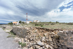 Wide view of Entrance to abandoned military zone Stock Images