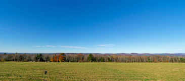 Wide view field trees and sky Stock Images