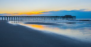 Sunrise over the Myrtle Beach Fishing Pier stock photo