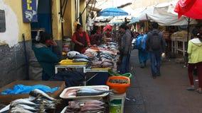 Wide view of a fish street market at cusco in peru
