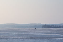Wide view of a frozen lake Royalty Free Stock Photos