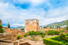 Wide view of a garden inside Alhambra Palace, Spain. Wide view of a garden and beautiful tower architecture inside Alhambra Palace, Spain Royalty Free Stock Images