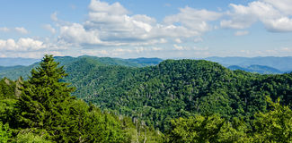 A wide view of the Great Smoky Mountains  from the top of Clingma Stock Image