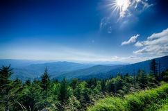 A wide view of the Great Smoky  Mountains from the top of Clingma Royalty Free Stock Image