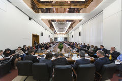 Wide view on the hall on Round table Elections Stock Image