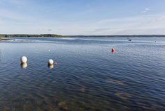 Wide view of the harbor at Northport Maine Stock Images