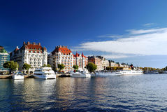 Wide view on the harbor part of Stockholm Royalty Free Stock Photography
