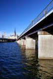 Wide view on the harbor part of Stockholm city. Sweden stock images