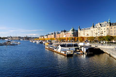 Wide view on the harbor part of Stockholm city Stock Photography