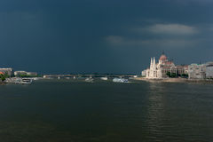 Wide view of the hungarian Parliament in Budapest Royalty Free Stock Photo