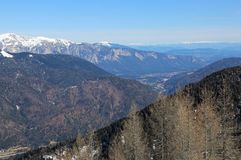 Wide view from Italy to Austria. And mountains with snow Stock Images