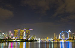 Wide view landmark of Singapore on twilight. At night time Stock Image