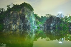 Wide view of Little Guilin by night Royalty Free Stock Images