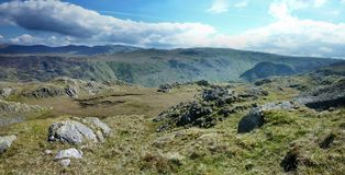 Wide view looking over Langstrath from Rosthwaite Fell Royalty Free Stock Images
