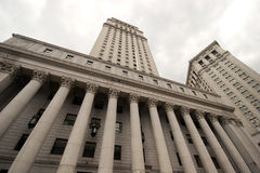 Wide view looking up at the United States Court House, lower Manhattan. New York stock photography
