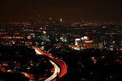A wide view of Los Angeles at night royalty free stock photography