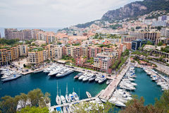 Wide view of luxury yachts in the harbor of Monte Carlo Stock Photography