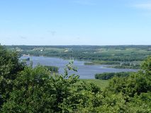 Wide View of the Mississippi River from Galena, Illinois Stock Image