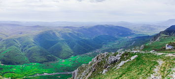 Wide view from the Nanos plateau on the green Vipava Valley. A well-known wine district above which paragliders and skydivers from all over the world spread Royalty Free Stock Photography