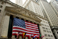 Wide view of New York Stock Exchange on Wall Street stock images