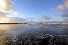 Wide view at the north sea in Holland Stock Image