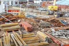 Wide View Of Metro Train Work Area Under Construction Seen With Huge Hydraulic Machines Stock Images
