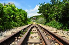 Wide view of old railway track Royalty Free Stock Images