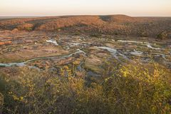 Wide view on Olifants river from Camp viewpoint stock images