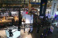 Wide view over company booths at the Mobile World Congress 2019 in Barcelona stock photos
