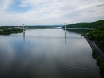 Wide view over the Hudson from Poughkeepsie walkway bridge Royalty Free Stock Image
