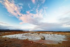 Iceland - volcanic landscape - geothermal area with steam outlet royalty free stock photography