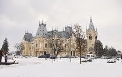 Wide view of the Palace of Culture in Iasi city. Romania. winter scene Royalty Free Stock Images