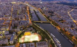 Wide view of Paris city. At evening Stock Images
