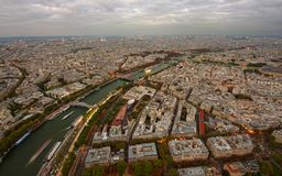 Wide view of Paris city. At evening Royalty Free Stock Image