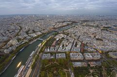 Wide view of Paris city. At evening Royalty Free Stock Images