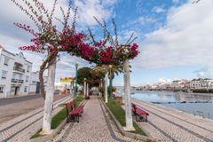Wide view of the picturesque city of Tavira, Portugal, crossed b stock photo