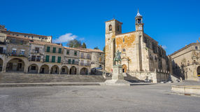Wide view of Plaza Mayor at Trujillo. Spain Royalty Free Stock Image