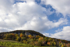 Wide view of Rattlesnake Point in autumn. Rattlesnake Point, Niagara Escarpment in autumn - copy space Stock Images