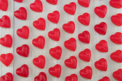 Wide View of Red Gummy Hearts at Angle Royalty Free Stock Photo