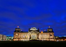 Wide View Reichstag Building. The Reichstag building in Berlin was constructed to house the Reichstag, the first parliament of the German Empire Stock Image