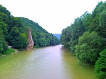 Wide view of the river bank and forest. Summer, Russia royalty free stock photo