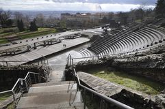 Wide view of a Roman theatre in Lyon city Stock Photo